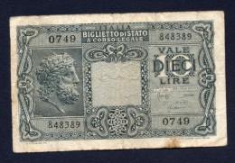 ITALIA 10 LIRE BIGLIETTO DI STATO (Giove) 23-11-1944 BB - [ 1] …-1946 : Kingdom