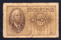 5 LIRE ITALIA 1940 BB - [ 1] …-1946 : Kingdom