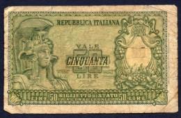 50 LIRE ITALIA 23/12/1951 BB - Bolaffi, Cavallaro, Giovinco - [ 2] 1946-… : Républic