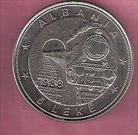 ALBANIE 5 LEKE 1988 CN UNC 42TH ANN. FIRST RAILROAD LOCOMOTIVE AND TRAIN - Albanie