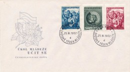Czechoslovakia / First day cover (1952/06) Praha 1 (d): World Youth Week (pioneer girl; soldier; miner; ironworks; mines