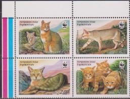 ** TAJIKISTAN WWF  GATTI CATS 4 V.  MNH - W.W.F.