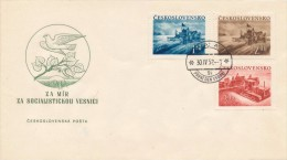 Czechoslovakia / First day cover (1952/11) Praha 1 (9i): Building a socialist agriculture (Harvester, Mount Rip, tractor