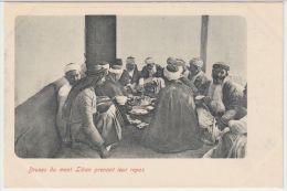 25533g  LIBAN - Druses du mont Liban prenant leur repas