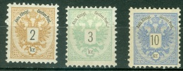 Autriche   Yvert 40,41 et 43  ou Michel 44 , 45 et 47  *  TB