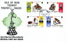 ILE DE MAN. N°29-32 De 1974 Sur Enveloppe 1er Jour (FDC). Tourist Trophy. - Moto