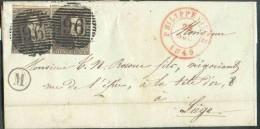 N�1(2) - Epaulettes 10 centimes brunes en paire, touch�e, obl. P.96 s/lettre de PHILIPPEVILLE le 22 novembre 1849 + bo�t