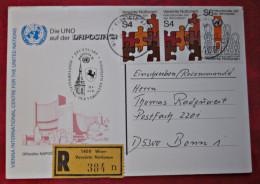 Vereinte Nationen UNO 1981 Karte Gelaufen Einschreiben Briefmarken - ONU