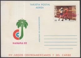 1982-EP-56 CUBA 1982. Ed.132. POSTAL STATIONERY. TARJETA POSTAL. XIV JUEGOS CENTROAMERICANOS.ERROR COLOR DESPLAZADO. UNU