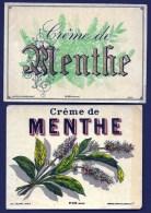 2 ETIQUETTES ANCIENNES- CRÊME DE MENTHE- ETIQUETTE N° 330 ET 432- LITHOGRAPHIE POLYCHROME DE PALYART- PARIS - Etiketten