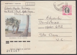 1982-EP-87 CUBA 1982. Ed.191g. POSTAL STATIONERY. ENTERO POSTAL. J. MARTI. PLAYA BIBIJAGUA. SANTA CLARA. USED.