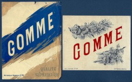 2 ETIQUETTES ANCIENNES- GOMME-  ETIQUETTE N° 89 ET 104-  FINITION GLACÉE - Etiketten