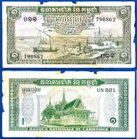 Cambodge 1 Riel 1956 A 1975 Signature 12 Riels Bateau Cambodia Que Prix + Frais De Port - Cambodia