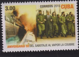 O) 2015 CUBA-CARIBE, STEAMBOAT, 55 ANNIVERSARY OF SABOTAGE STEAM COUBRE, MNH
