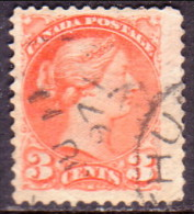 Canada 1868 SG #58 3c VF used brown-red Large type perf.12 CV �25