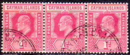 Cayman Islands 1907 SG #26 1d VF used strip of 3