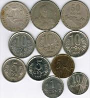 Uzbekistan - Collection Of 11 Coins 1997-2004 All Listed & Different - Uzbenisktán