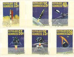 Space-espace - Gabon G1-G6 De 1971 - Appolo 14 - Impression Locale Sans Gomme - Gabon (1960-...)
