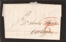1841 Prefilatelia Carta Circulada De Lorca A Cartagena - Matasellos En Rojo - España