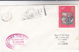 1971 GB NAVY COVER  Cachet ' HMS EAGLET SALTHOUSE DOCK   LIVERPOOL 1970' Ship Salt Minerals  Stamps - Ships