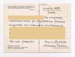 MICHELE PAONE Manoscritto Autografo Su Cartolina - Lecce - San Vitaliano Di Napoli - Gallipoli Rivista Giuridica Dell'Al - Autographs