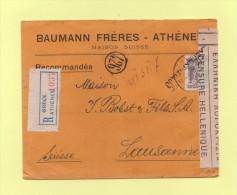 Recommande Destination Suisse Lausanne - Grece Athenes - Censure Hellenique - 1920 - Grecia