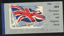 British European Airways  Airline Transport Ticket 1954 Used Passenger Ticket  5 Scan - Titres De Transport