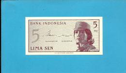 INDONESIA - 5 SEN - 1964 - P 91 - UNC. - Série ASW - Female Volunteer In Uniform - 2 Scans - Indonésie