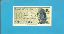 INDONESIA - 10 SEN - 1964 - P 92 - UNC. - Série ANG - Female Volunteer In Uniform - 2 Scans - Indonésie