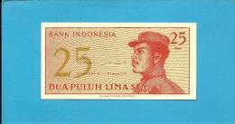 INDONESIA - 25 SEN - 1964 - P 93 - UNC. - Série BGJ - A Volunteer Man In Uniform - 2 Scans - Indonésie