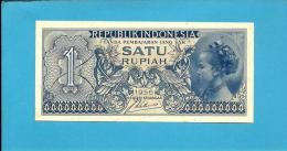INDONESIA - 1 Rupiah - 1956 - P 74 - UNC. - Série JMV - Javanese Girl / Arms  - 2 Scans - Indonesia