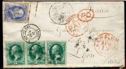 78600 B - 4 TP, Tarif  10 C, Oblitération Bouchon Et Cad Rouge NEW YORK Au 1873 + LONDON Et Divers Pour La FRANCE TB - Briefe U. Dokumente