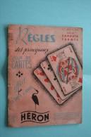 REGLES DES PRINCIPAUX JEUX DE CARTES à JOUER CANASTA,TAROT METHODE THEORIQUE PRATIQUE EDITIONS HERON->VINTAGE 1è édition - Sonstige