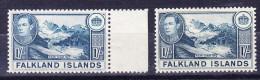 Falkland Inseln 1938/41 SG.# 158a Greenisch Blue * + #158b Dull Blue ** - Falkland