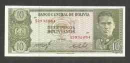 BOLIVIA - BANCO CENTRAL De BOLIVIA - 10 PESOS BOLIVIANOS (1962) - Bolivia