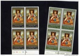 St Lucia -noel 1967-christmas-en Blocs De 4cote- N°225-6 Raphael -madone-neufs***sans Charnière - St.Lucie (1979-...)