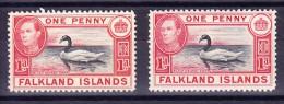 Falkland Inseln 1938 SG 147 * Je 1 X Black&carmine Und 1x Black&vermillion - Falkland