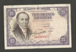 SPAIN - BANCO De ESPANA - 25 PESETAS (1946) - Florez Estrada - [ 3] 1936-1975 : Regime Di Franco