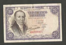 SPAIN - BANCO De ESPANA - 25 PESETAS (1946) - Florez Estrada - [ 3] 1936-1975 : Regency Of Franco
