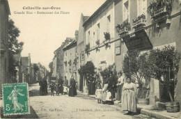 14 COLLEVILLE SUR ORNE - GRANDE RUE - RESTAURANT DES FLEURS - DEVANTURE CAFE - BELLE ANIMATION - France