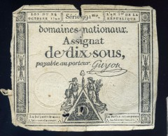 Assignat De Dix Sous Signé Guyon Série 991me An 1er De La République FRM 23 - Assignats & Mandats Territoriaux