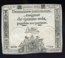 Assignat De Quinze Sols Signé Buttin Série 1244 Loi Du 23 Mai 1793 L' An 2me FRM 23 - Assignats & Mandats Territoriaux