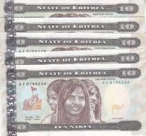 ERITREA 10 NAKFA 1997 P-3 LOT X5 UNC  NOTES */* - Erythrée