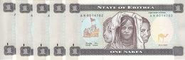 ERITREA 1 NAKFA 1997 P-1 UNC LOT X5 NOTES CONSECUTIVE - Eritrea