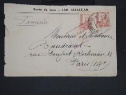 ESPAGNE - Enveloppe De San Sébastian Pour La France En 1937 Avec Censure - à Voir - Lot P7370 - Marcas De Censura Nacional