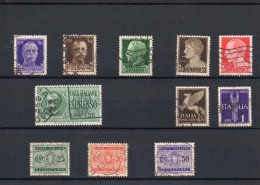 ITALIA: Serie Di 11  Francobolli USATI - Regno E  Repubblica Sociale Italiana (non Completa) - 4. 1944-45 Repubblica Sociale