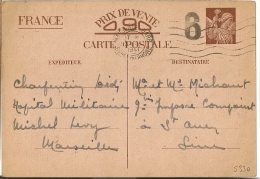 Marque De Censure 6 Sur Entier Iris. Marseille Gare, Bouche Du Rhone. - Poststempel (Briefe)