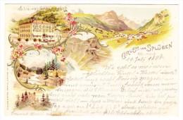 AK CH GR Gruss Vom Splügen 20.7.1898 Ges. Litho Müller Strub - GR Grisons