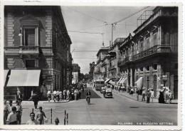 Sicilia-palermo-palermo Veduta Via Ruggero Settimo Animatisima Anni/40/50 - Palermo