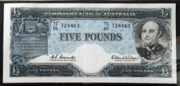 Australia 5 Pounds 1960 Banknote Pick 35a, Coombs/Wilson High Grade, See Images - Emissions Gouvernementales Pré-décimales 1913-1965